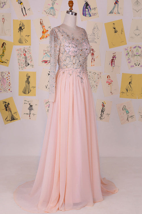 Long Sleeves Beaded Top Chiffon Affordable Long Prom Dresses, WG709