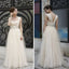 Charming Simple Design Ivory High Waist Rhinestone Wedding Party Dresses, WD0070 - Wish Gown
