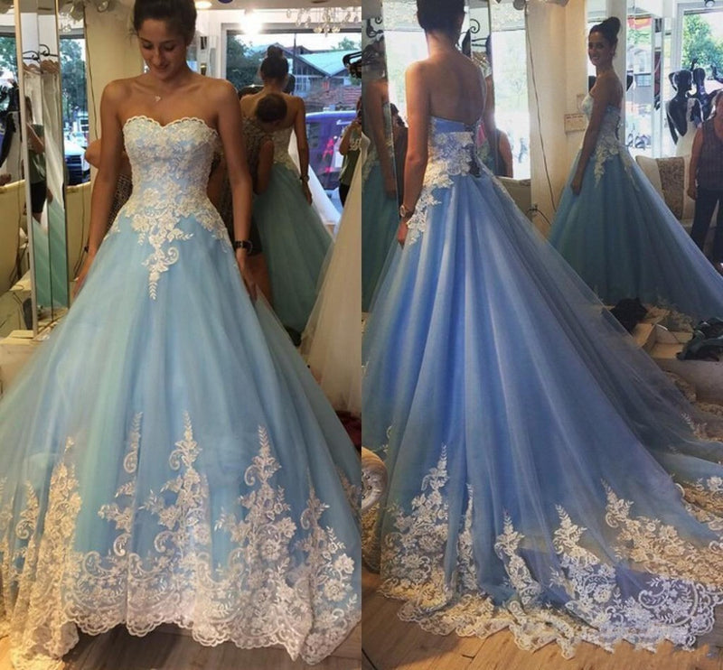 Blue Sweetheart Applique Pretty Ball Gown Long Prom Dresses, WG714 ...