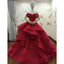 Red Off Shoulder Gorgeous Applique Stunning Long Prom Dresses Ball Gown, WG716