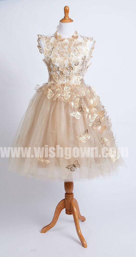 Cute Butterfly Affordable Tulle Charming Flower Girl Dresses for Wedding Party, FGS124 - Wish Gown