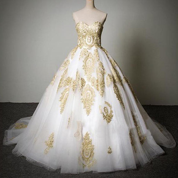 Cheap Popular Classic Sweetheart Gold Lace White Tulle Wedding Party Dresses, WD0071 - Wish Gown
