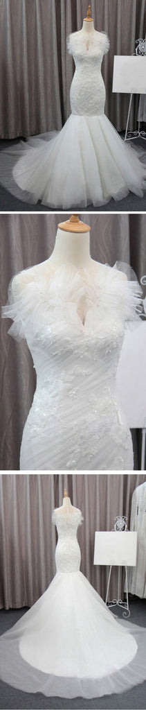 Gorgeous Elegant White Lace Mermaid Tulle Wedding Party Dresses, Bridal Gown, WD0072 - Wish Gown
