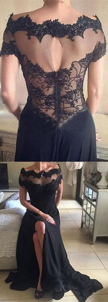 Black Off the Shoulder Short Sleeves Split Long Lace Prom Dresses, WG720 - Wish Gown