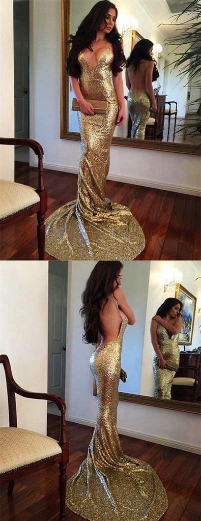 Gold Sequin V Neck Backless Sexy Mermaid Shinning Bridesmaid Prom Dress, WG721 - Wish Gown