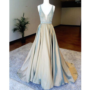 V-Neck Beaded Top Elegant Evening Long Prom Dresses, WG723