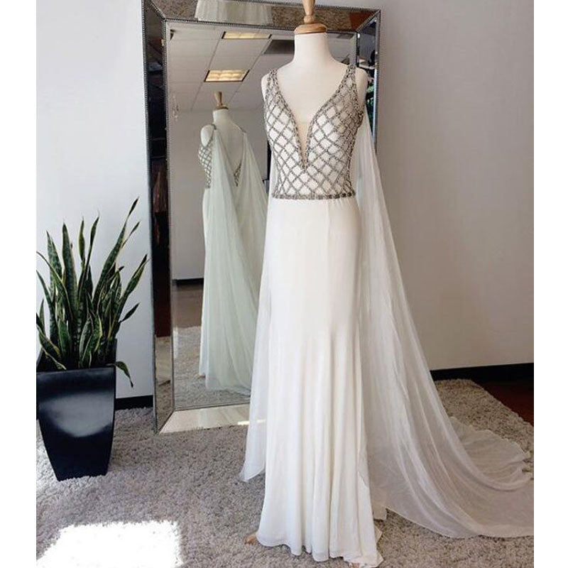 Affordable White Beaded Top V Neck Evening Long Prom Dresses, WG724 - Wish Gown