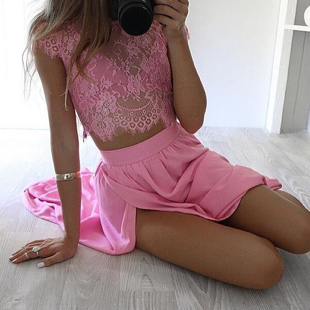 Pink Lace Two Pieces Short Sleeve Sexy Side Slit Long Prom Dress, WG729