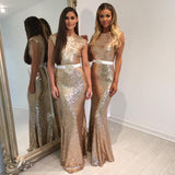 Fashion Design Shinning Sequin Elegant Mermaid Long Cheap Bridesmaid Dresses for Wedding Party, WG72 - Wish Gown