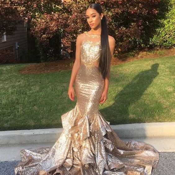 Gorgeous Sequin Long Mermaid Sparkle Bridesmaid Prom Dresses, WG470 - Wish Gown
