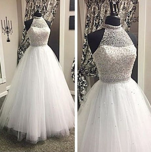 White Halter Beaded Top Evening Ball Gown Long Prom Dresses, WG731
