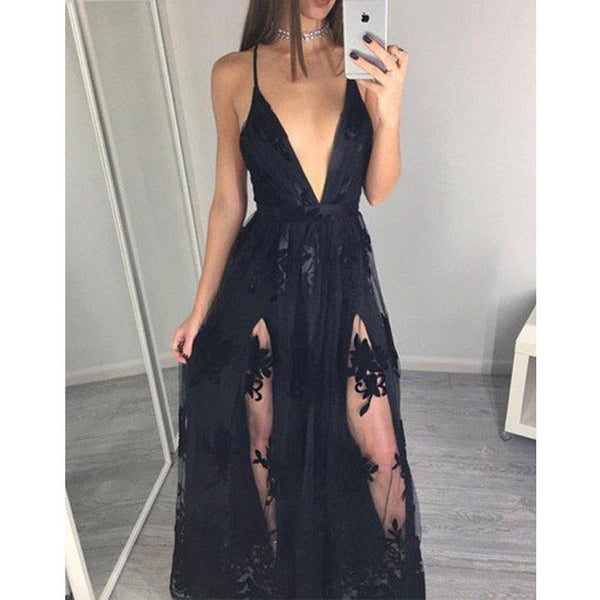 Deep V Neck Sexy Slit Applique Unique Cheap Long Beach Prom Dress, WG732 - Wish Gown