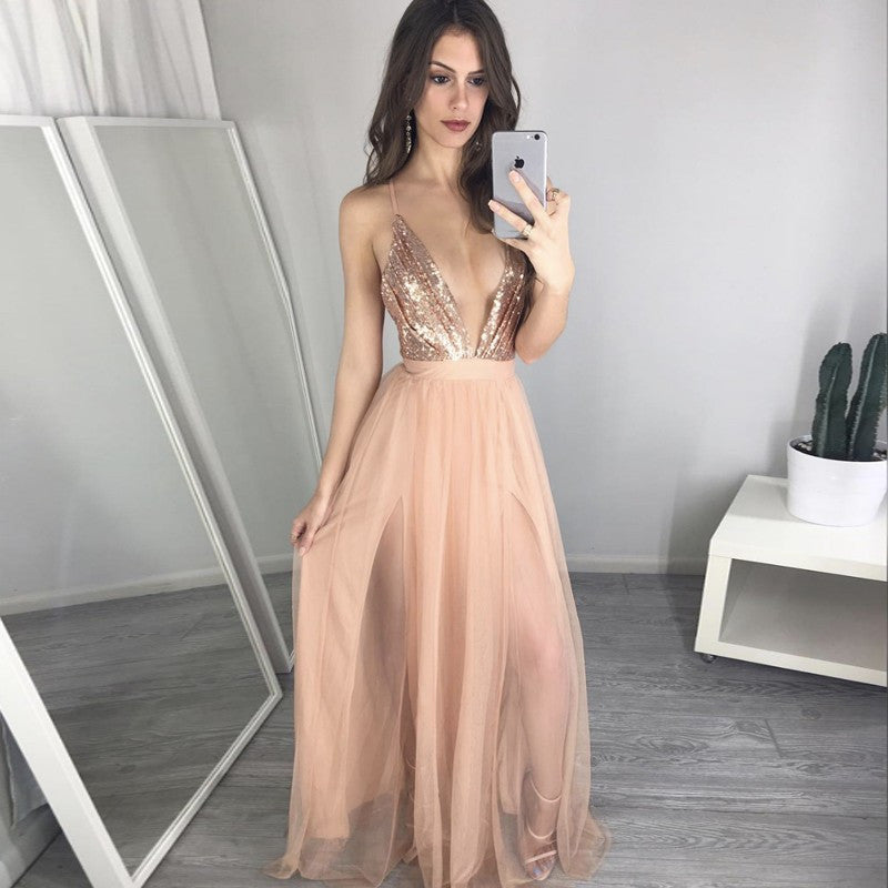Sequin Top Deep V Neck Sexy Cheap Long Beach Prom Dress, WG734