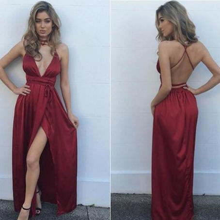 Burgundy Deep V Neck Sexy Split Backless Long Beach Prom Dress, WG735