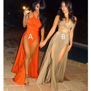 Sexy Split Simple Cheap Popular Long Beach Party Prom Dresses, WG736