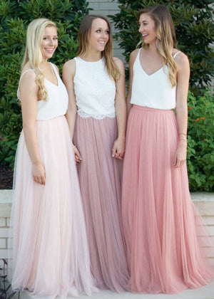 2017 Popular Tulle Long Elegant Cheap Bridesmaid Dresses for Weddings, WG388
