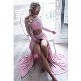 2017 Teenagers Two Pieces Pink Long Sleeves Side Slit Off Shoulder Long Prom Dresses, WG748