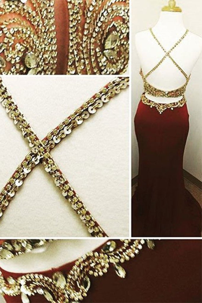 Burgundy Mermaid Two Pieces Sexy Open Back Beaded Long Prom Dresses, WG749 - Wish Gown