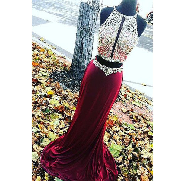 Burgundy Mermaid Two Pieces Sexy Open Back Beaded Long Prom Dresses, WG749