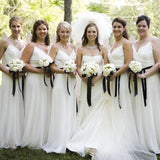 Elegant White Chiffon Spaghetti Strap Cheap Formal Charming Long Bridesmaid Dresses, WG74 - Wish Gown