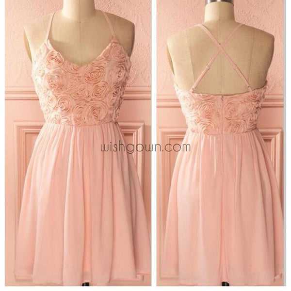 Peach spaghetti strap simple mini freshman homecoming prom bridesmaid dress,BD0074