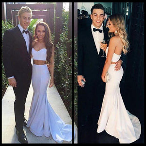 White Simple Two Pieces Mermaid Sweetheart Cheap Long Prom Dresses, WG756