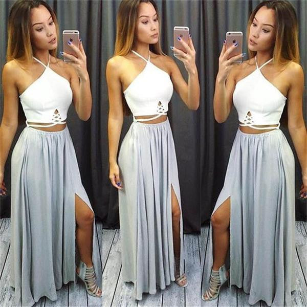 2 Pieces Popular Sexy Side Split Open Back Cheap Beach Long Prom Dresses, WG758