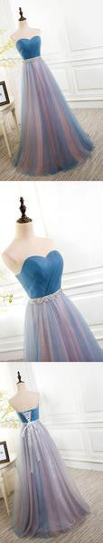 Best Sale Tulle Sweetheart Lace up Back Evening Cheap Long Prom Dresses, WG759 - Wish Gown