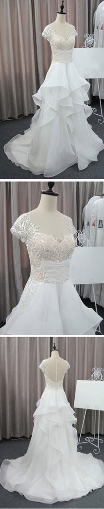 Cap Sleeve Beautiful Lace Wedding Party Dresses, Cheap Chiffon Bridal Gown, WD0076 - Wish Gown