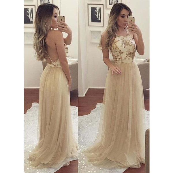 Champagne Unique Open Back Tulle Affordable Long Prom Dresses, WG761
