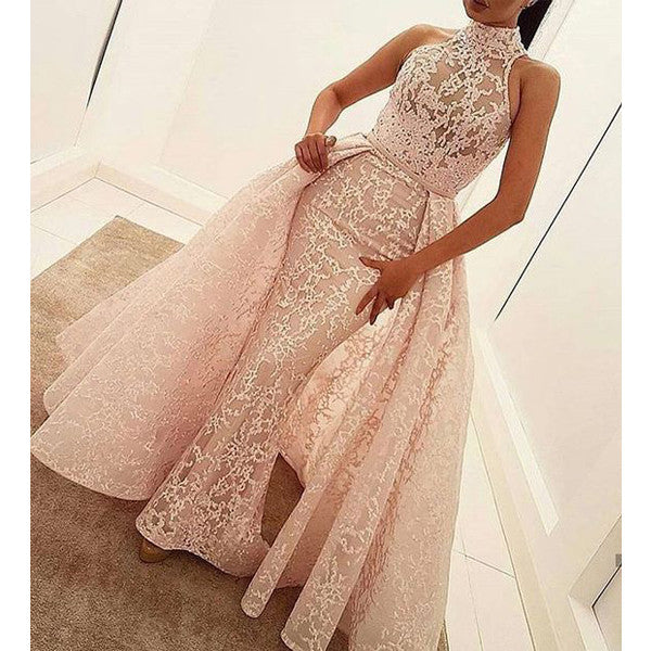 Unique Lace Halter Gorgeous Evening Long Prom Dresses, WG767