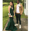 Halter Green Sexy Mermaid Cheap Simple Long Prom Dresses, WG768