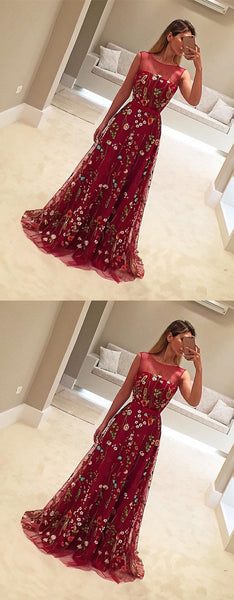 Burgundy Unique Applique Charming Evening Gorgeous Long Prom Dresses, WG769 - Wish Gown