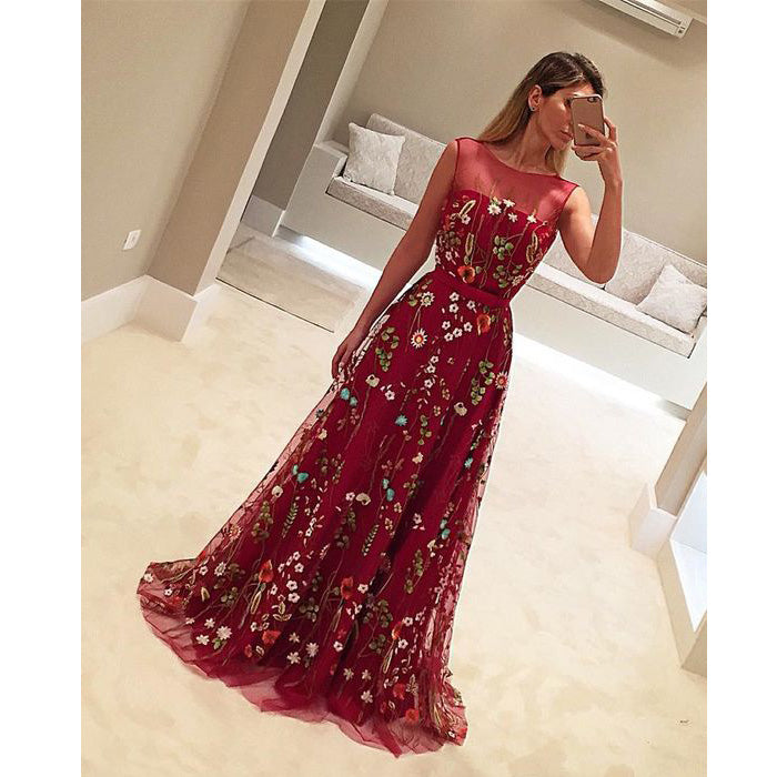 Burgundy Unique Applique Charming Evening Gorgeous Long Prom Dresses, WG769