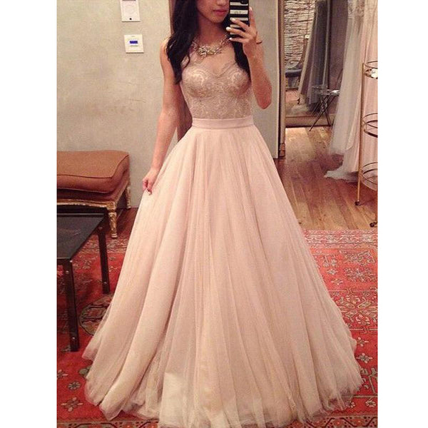 Charming Sweetheart Tulle Lace Evening Inexpensive Long Prom Dresses, WG771 - Wish Gown