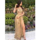 Sexy Long Sleeves Side Slit Lace Inexpensive Long Prom Dresses, WG772