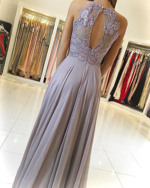 Simple Cheap Chiffon Lace Top Formal A Line Long Prom Dresses, WG773