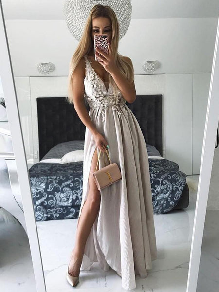 Unique V Neck Side Split On Sale Cheap Long Prom Dresses, WG774