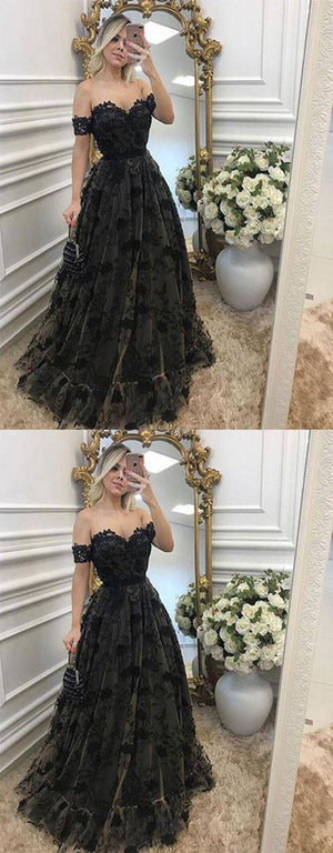 Black Lace Off the Shoulder Sexy Sweetheart Elegant Long Prom Dresses, WG776