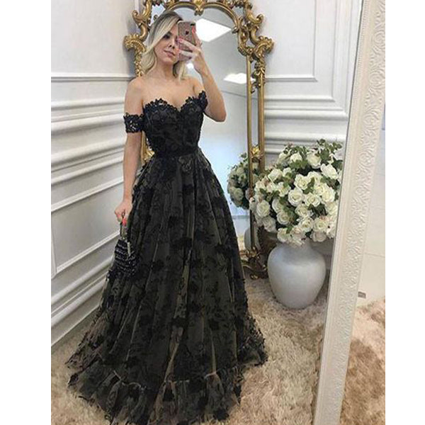 44abd5bb53 Black Lace Off the Shoulder Sexy Sweetheart Elegant Long Prom Dresses
