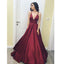 Burgundy Simple V Neck Cheap Formal Long Satin Evening Prom Dress, WG783 - Wish Gown