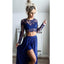 Two Pieces Long Sleeves Sexy Side Split Royal Blue Lace Beach Long Prom Dresses, WG786