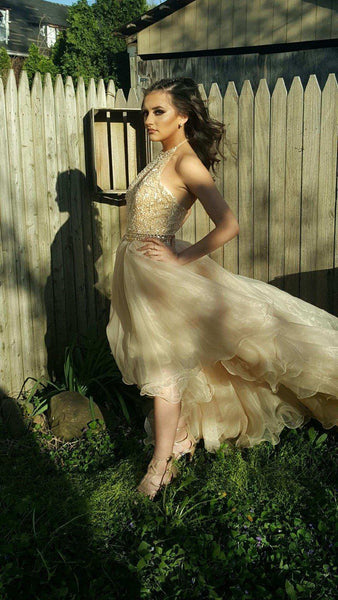 Affordable Beautiful Halter Beaded High Low Long Evening Prom Dress, WG789 - Wish Gown