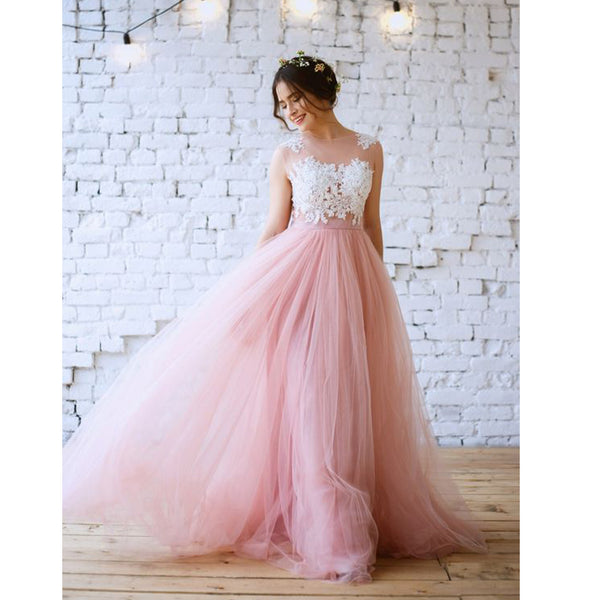 Charming Pink Lace Top Tulle Formal Evening Cheap Long Prom Dresses, WG790 - Wish Gown