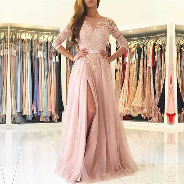 Long Sleeve Side Split Tulle Formal Evening Cheap Long Prom Dresses, WG791