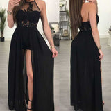 Black Halter Side Split Sexy Cheap Formal Long Prom Dresses, WG793 - Wish Gown