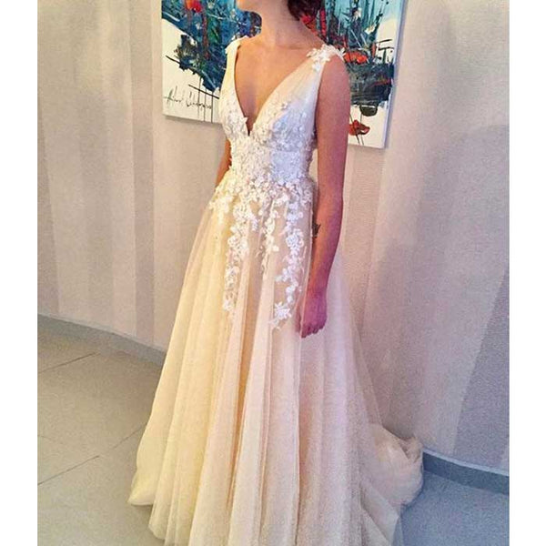 Popular Charming V Neck Applique Tulle Evening Formal Long Prom Dresses, WG794
