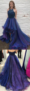 Halter Beaded Top High Low Popular Charming Long Prom Dresses, WG796
