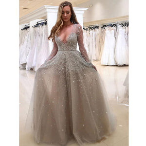 Charming Long Sleeves Elegant V Neck Inexpensive Long Prom Dresses, WG797