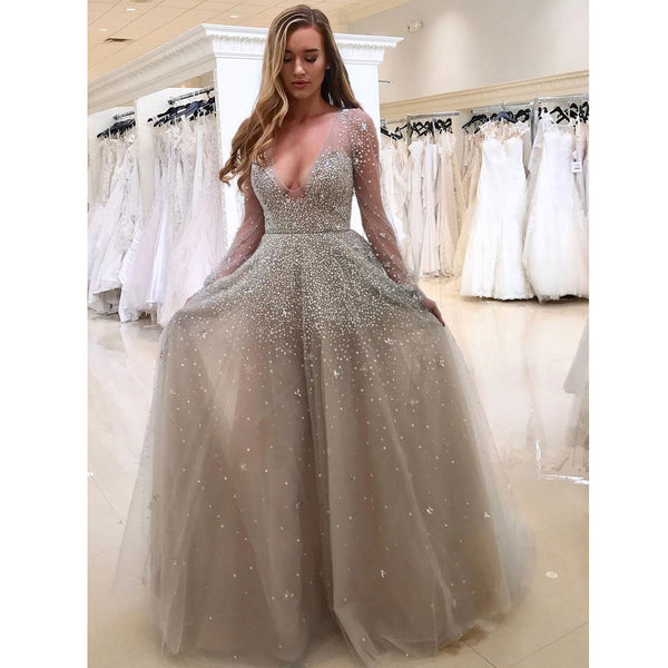Charming Long Sleeves Elegant V Neck Inexpensive Long Prom Dresses, WG797 - Wish Gown